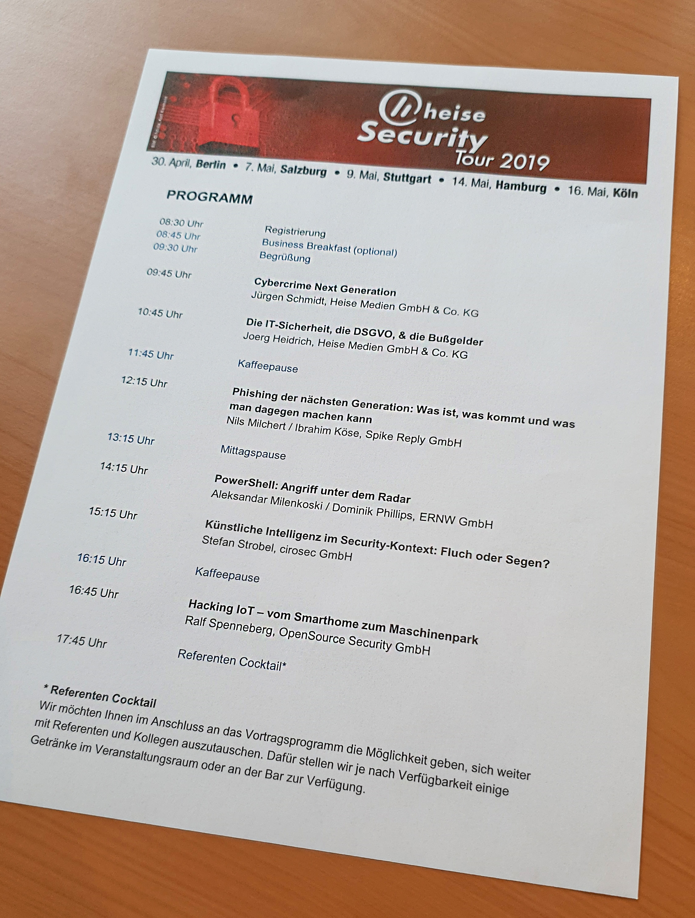 Heise Security Tour 2019 - Verantsaltungsprogramm